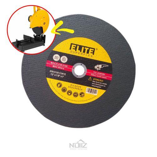 """Disco de corte aço/inox Elite 12'x1/8""""x1"""""""