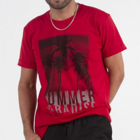 Camiseta Manga Curta Estampada - Kit Com 20 Unidades