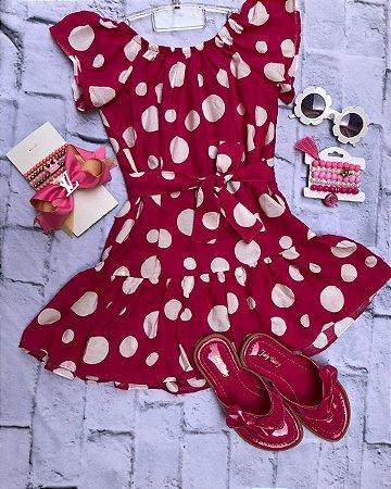 Vestido viscose apenas pink com bolinha branca com cinto ou faixa 😱😍