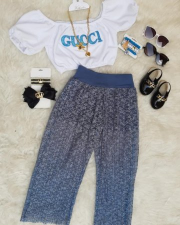 Conjunto cropped + short com renda 😱😻