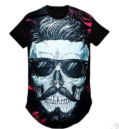 Camiseta longline Swag Masculina Caveira c/ óculos - G