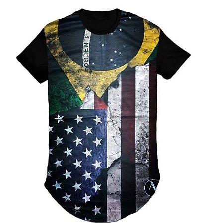 Camiseta do Brasil Estampa Estados Unidos Long Line- M