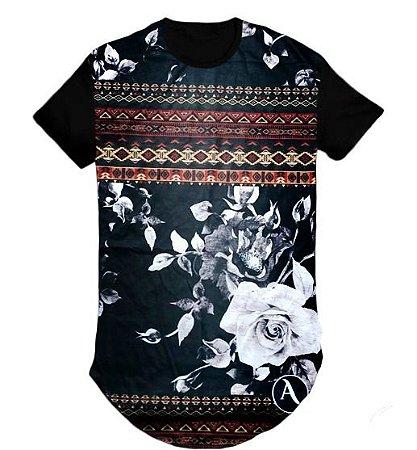 Camiseta Swag Long Line Oversized Blusa Floral- M