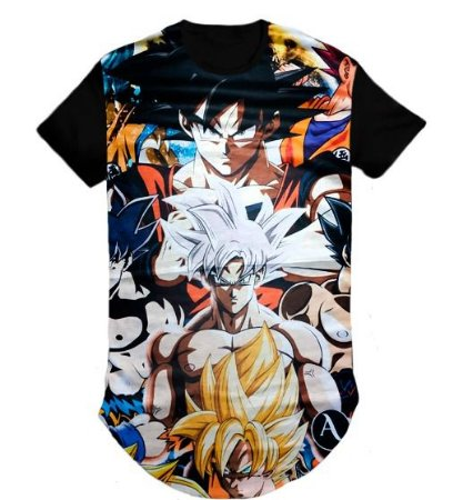 Camiseta Anime Dragon Ball Swag Long Line Oversized Blusa- M