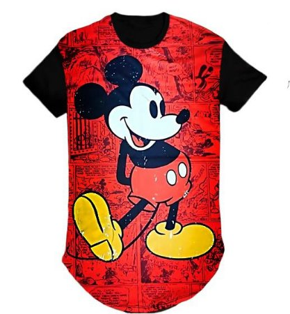 Camiseta Masculina Personagem Mickey  swag  Longline- M
