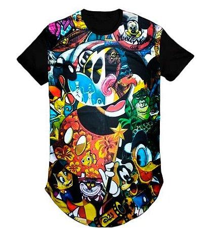 Camiseta Anime Mickey  Swag Long Line Oversized Blusa- M