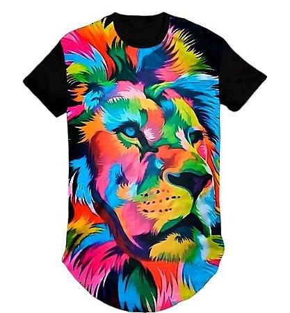 Camiseta Longline Swag Leão Cores Arco-Ires- M