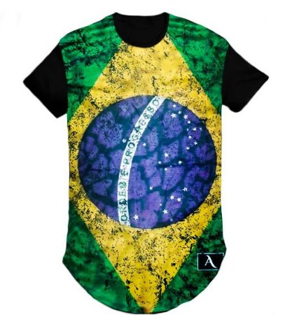 Camiseta Camisa do Brasil Long Line Oversized Swag - M
