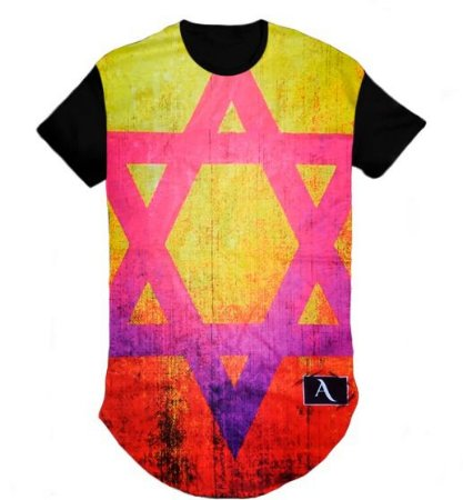 Camiseta Camisa Estrela Colorida Long Line Oversized- M