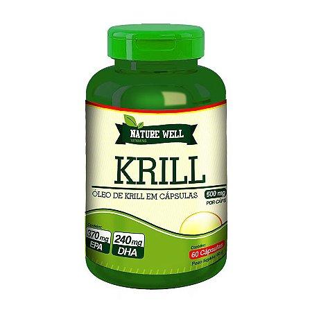 ÓLEO DE KRILL 500mg Concentrado em EPA e DHA Nature Well  60 cápsulas veganas