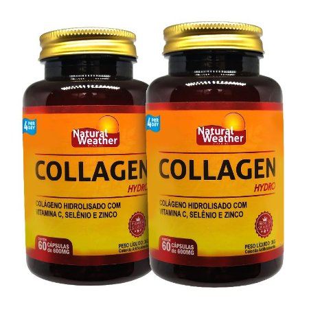 2 Collagen Hydro com vitaminas e minerais Natural Weather - 60 cápsulas