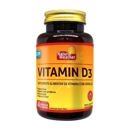 VITAMIN D3 - Natural Weather Suplemento alimentar de vitamina 60 Cápsulas de 500mg