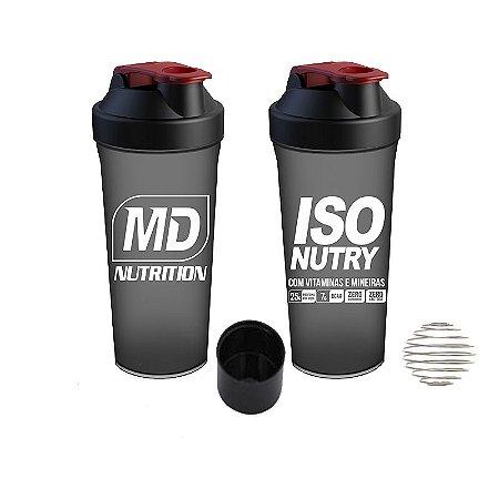 Coqueteleria compartimento para Whey Iso Nutry MD Nutrition Cor Preto