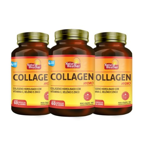 3 COLLAGEN HYDRO - com vitaminas e minerais Colágeno Hidrolisado Natural Weather 60 Cápsulas