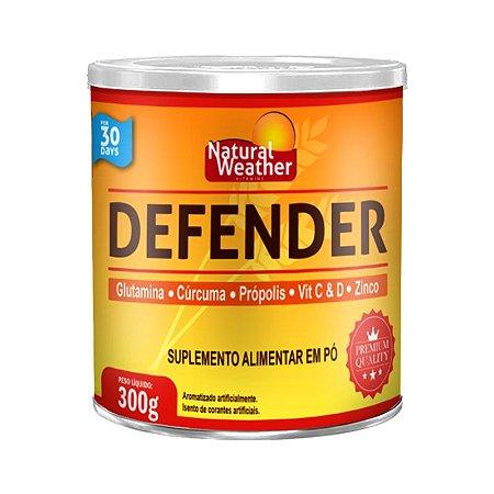 DEFENDER 300mg - Glutamina, Cúrcuma, Própolis, Vitamina C e D, Zinco - Suplemento alimentar em pó - Natural Weather - Sabor acerola