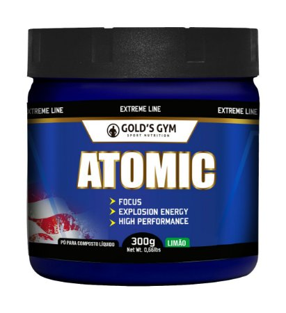Atomic Gold's Gym Pré-treino em pó 300g  Sabor Limão