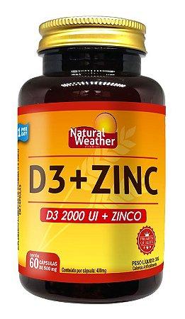 Vitamina D3 2000UI + ZINC 29,59MG Natural Weather 60 CÁPSULAS