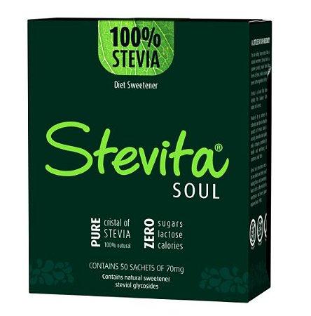 STEVITA SOUL ADOÇANTE PURO CRISTAL DE STEVIA - 50 SACHÊS - ZERO AÇUCAR, LACTOSE E SÓDIO - VEGAN - 35G