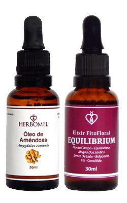 Kit Óleo Vegetal de Amêndoas 30ml + Elixir Fitofloral Equilibrium 30ml - HerboMel Natural