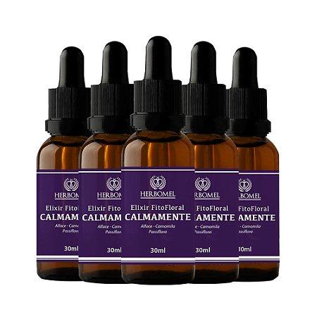 05 Unidades Elixir Fitofloral Calmamente 30ml - HerboMel Natural