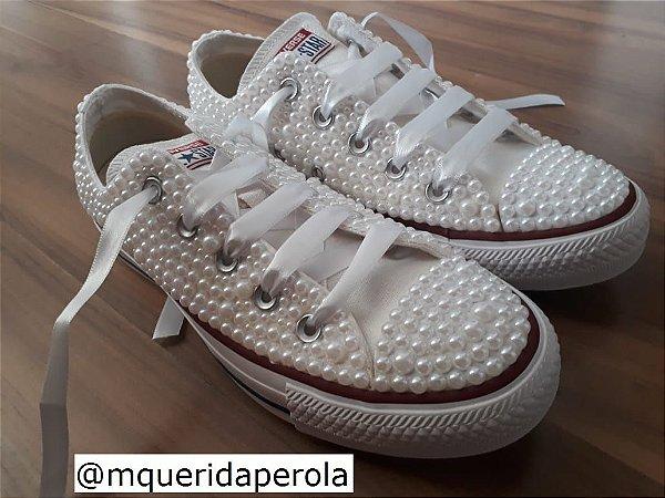 9ef6db556a Tenis All Star Customizado Pérola Personalizado - Minha Querida ...