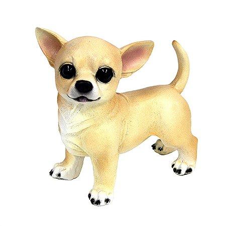 Cachorro Chihuahua Decoração Realista Resina casa Jardim