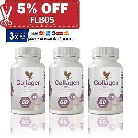 Collagen (colágeno tipo 1 e 2 + vitamina C ionizada), 03 unidades