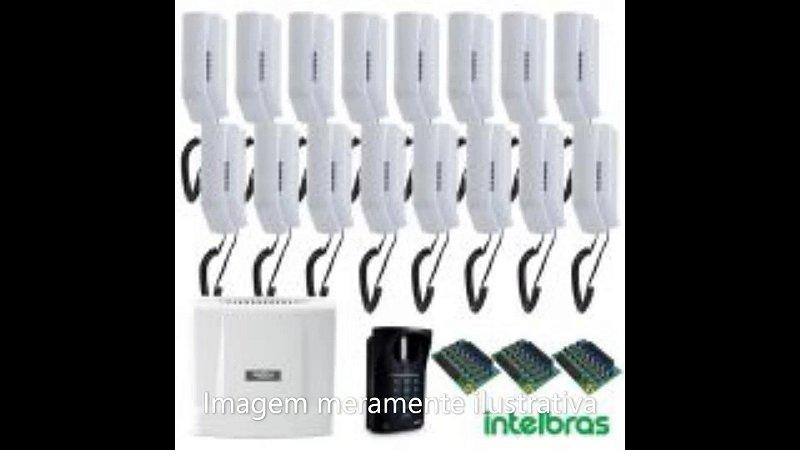 Kit de interfones  Intelbras 8 ramais instalado com cabeamento. O kit inclui : 01- Central Comunic 16 Intelbras 01- Porteiro XPE 48 Comunic Intelbras 01- Placa de 8 ramais desbalanceada 08- Terminais dedicados BR-TDMI300 Intelbras