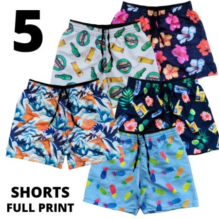 Kit 5 Shorts Full Print - Estampas