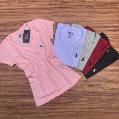 Kit 5 Camisetas Femininas Polo