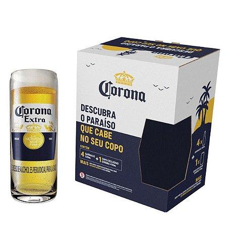 Kit Cerveja Corona Lager 4 Unidades - 330ml com Copo