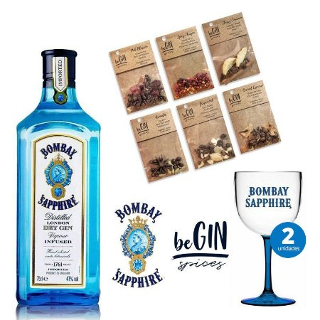 Kit Bombay Sapphire - 750ml + 2 Taça Bombay Acrílico + Especiarias BeGin - 6 Sachês
