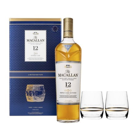 Kit Whisky The Macallan 12 Anos Triple Cask 700ml + 2 Copos Rock Glass Personalizados