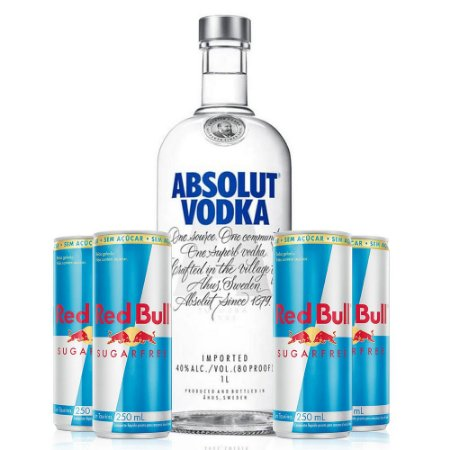 Combo Absolut 1 litro + 4 Red Bull Sugar Free