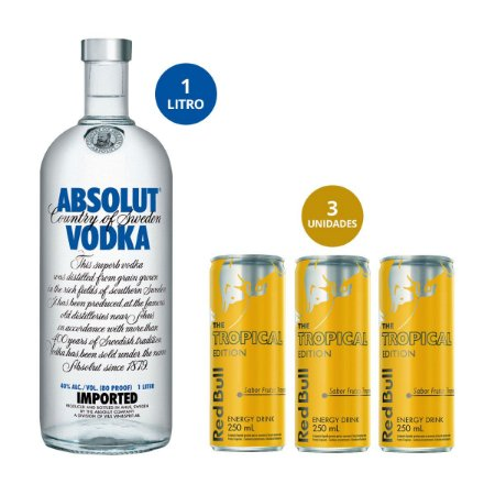 Combo Absolut 1 litro + 3 Red Bull Tropical