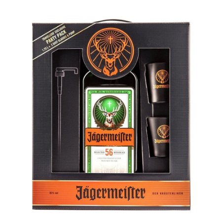 Kit Jägermeister Party Pack - 1,75L + 2 Shot Cups + Válvula Pump