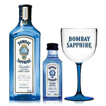 Gin Bombay Sapphire 1L + 1 Miniatura + 1 Taça