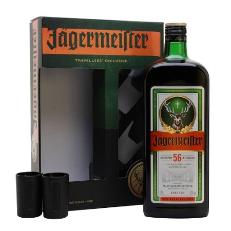 Kit Jägermeister Shot Pack - 1,75L + 2 Shot Cups + Válvula Pump