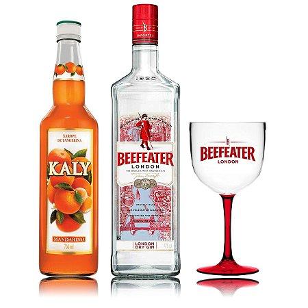 Kit Beefeater - 1 Litro* + 1 Taça Bicolor + 1 Kaly Tangerina