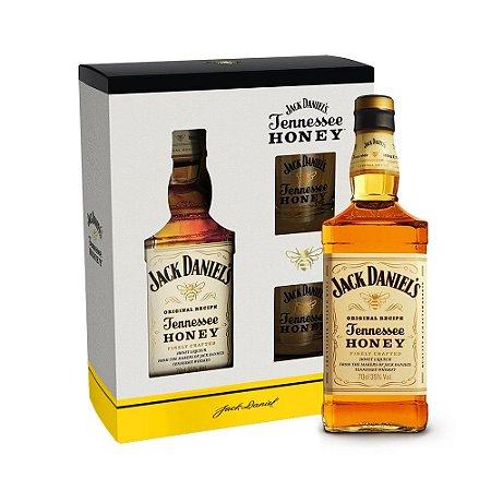 Kit Whiskey Jack Honey + 2 Copos Personalizados (Vidro)