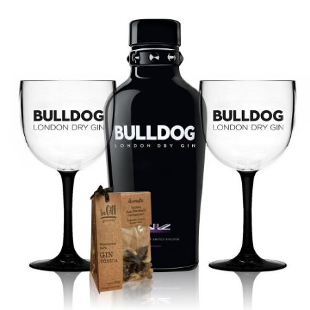 Combo Gin Bulldog + Taça Bicolor + Kit Especiarias