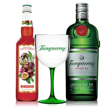 Combo Maracugin: 1 Tanqueray 750 ml + 1 Taça + 1 Kaly Maracujá Vermelho