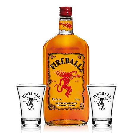 Kit Whisky Fireball 750 ml + 2 Shots