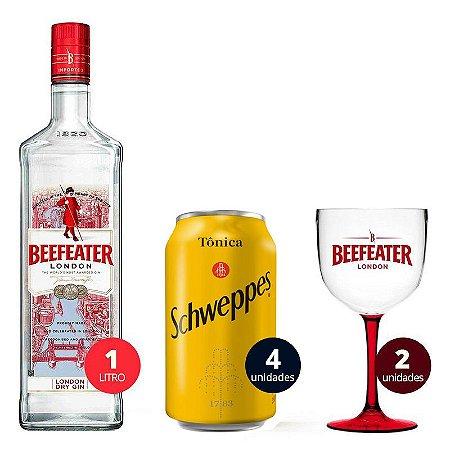 Combo Beefeater 1 Litro + 4 Tônica Schweppes - 350 ml + 2 Taças