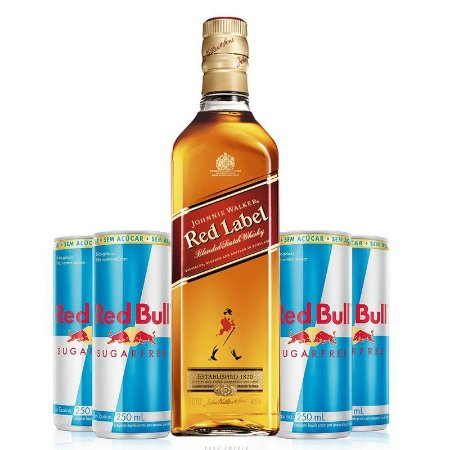 Combo Whisky Johnnie Walker Red Label - 1L + 4 Red Bull Sugar Free