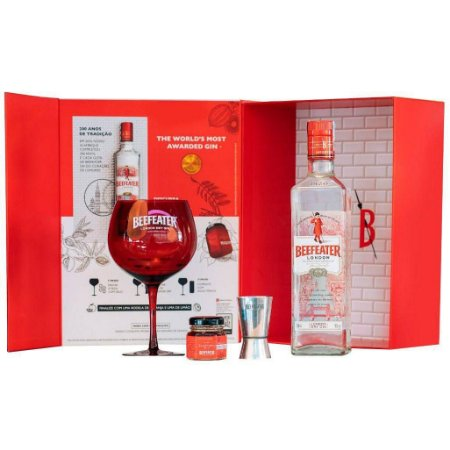 Kit Gin Beefeater 750ml com Taça, Dosador e Geleia para Drinks