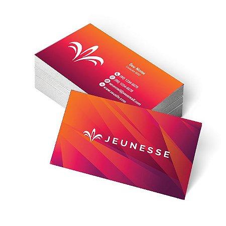1.000 Cartão de Visita Jeunesse - Tamanho 9x5cm - Frente e Verso - Verniz Total Frente