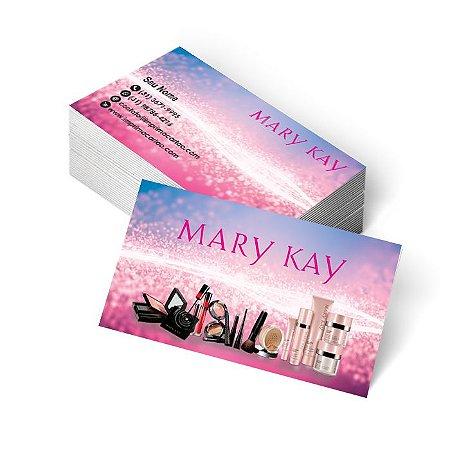 1.000 Cartão de Visita Mary Kay - Tamanho 9x5cm - Frente e Verso - Verniz Total Frente