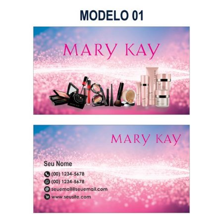 1.000 Cartão de Visita Mary Kay - Tamanho 9x5cm - Frente e Verso Colorido