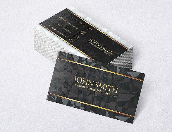 1.000 Cartão de Visita - Modelo 12 - Tamanho 9x5cm - Frente e Verso - Papel Couchê 250g - Verniz Total Frente